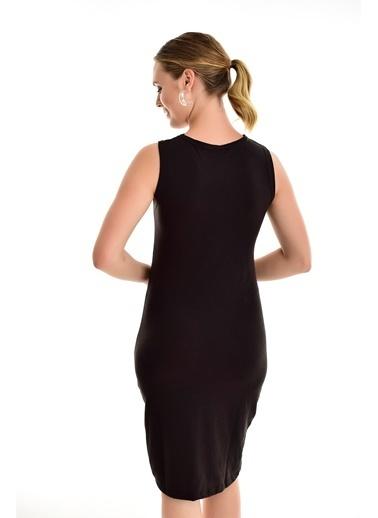 Sense Viskon Ve Polyester Karışımlı Midi Boy Kolsuz Ribanalı Kadın Elbise Siyah